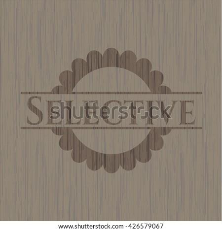 Selective realistic wooden emblem
