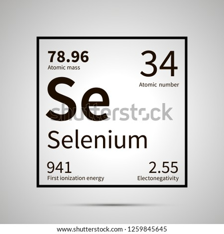 Selenium chemical element with first ionization energy, atomic mass and electronegativity values ,simple black icon with shadow on gray