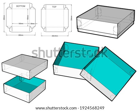 Self-assembling Folding Box. Ease of assembly, no need for glue (Internal measurement 15x15x5cm). The .eps file is full scale and fully functional. Prepared for real cardboard production. Photo stock ©
