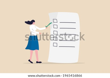 Self assessment, evaluate yourself for personal development or work improvement concept, woman giving check on checkbox in achievement list notepad paper.