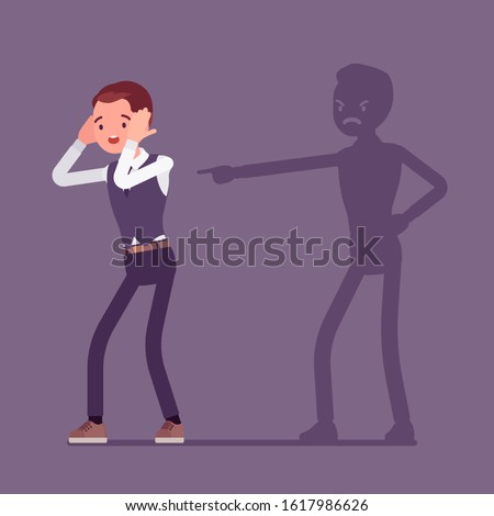 Self-blame emotions, guilt and self-disgust man. Stressful situation or depression, emotional abuse, shame, worry, unhappiness, responsible for a fault or wrong. Vector flat style cartoon illustration Сток-фото ©