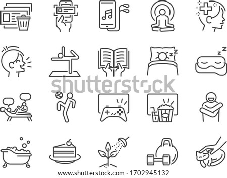 Self-care at home during self quarantine line icon set. Included icons as Self-quarantine, enjoy, emotion,mental activity, relax and more.