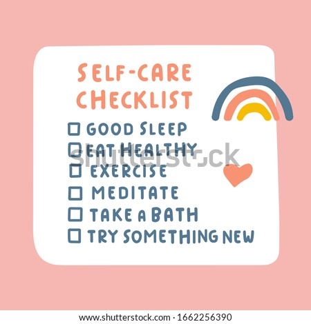 Self-care checklist. Hand drawn vector illustration on pink background. Сток-фото ©