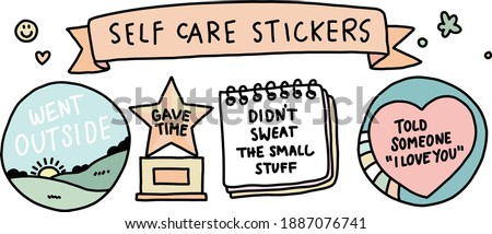 Self-care stickers badges and awards. Cute vector illustrations with typography. Icon sets. Feel good