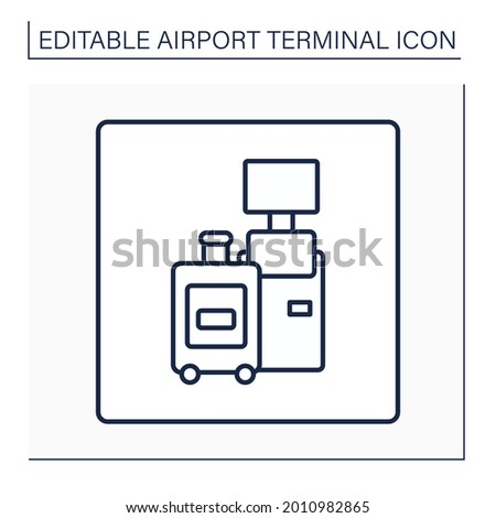 Self check-in line icon. Self-check in certain time to boarding through kiosks. Baggage registration at self bag drop machines.Airport terminal concept. Isolated vector illustration.Editable stroke Сток-фото ©