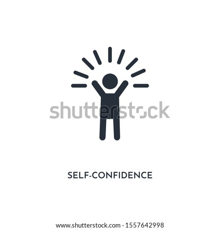 self-confidence icon. simple element illustration. isolated trendy filled self-confidence icon on white background. can be used for web, mobile, ui.
