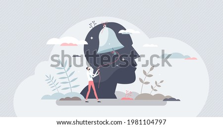 Self conscious and awareness as attention to inner human tiny person concept. Sharp thinking and notice actions around as awake yourself with inner ringing bell vector illustration. Psychology scene. Foto stock ©