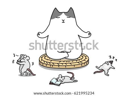 self control cat meditates