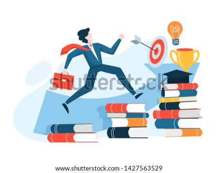 Self development concept. Idea of personal growth and progress. Learning and education. Vector illustration in cartoon style