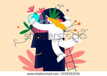 Self development, personal growth and improvement concept. Woman cartoon character climbing up ladder through human brain with blooming flowers and watering plants vector illustration