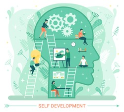 Self development, profile of human head with people developing mental issues. Woman starting cognitive wheels, male painting picture, ladders to success. Training, education, practice. Self-management