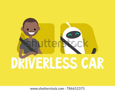Self-driving car concept. Cute white robot driving a taxi. African american passenger sitting on a back seat. Flat editable vector illustration, clip art
