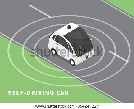 self driving car flat isometric