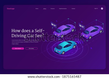 Self driving car isometric landing page. Autonomous vehicle with scanner and radar technologies, automatic transportation system, futuristic smart driverless automobiles on road 3d vector web banner