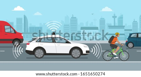 Self driving car moving in the city street using GPS and sensors, automotive technology concept