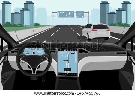 Self driving car on a road. Autonomous vehicle. Inside view. Vector illustration EPS 10