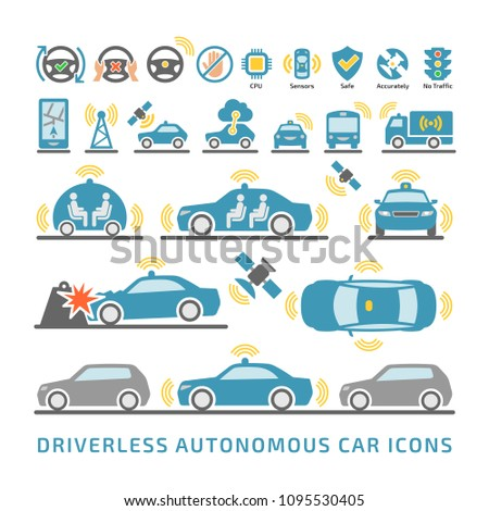 Self-driving smart intelligent car color icons set.  Driverless autonomous sensor vehicle symbols.