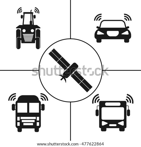Self-driving transports icons set