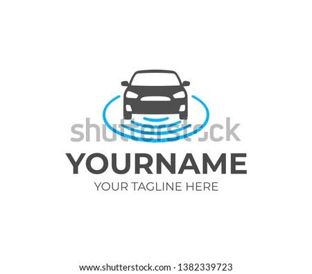 Self-driving vehicle logo design. Autonomous car vector design. Driverless car logotype