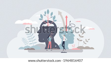 Self esteem and growth confidence with pride and belief tiny person concept. Personal development with proud attitude and improved psychological power vector illustration. Mental positive inspiration.