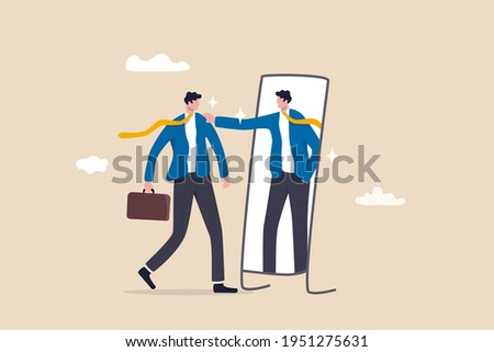 Self esteem or self care, believe in yourself improving confident, respect in your strong attitude concept, frustrated businessman looking at mirror with his shadow encourage his confidence.