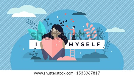 Self esteem vector illustration. Flat tiny personal confidence persons concept. Psychological mindset and life attitude as pride, appreciation and acceptance feeling. Mental and moral self respect. Foto stock ©
