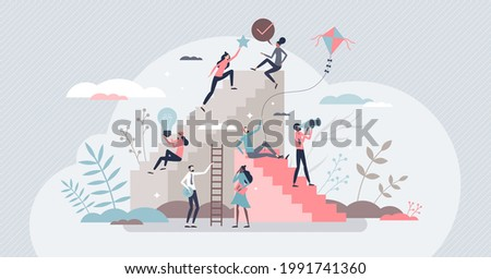 Self growth and personal development progress stages tiny person concept. Reaching for career goals and success vector illustration. Ambition ladders and potential accomplishment vision for future. Foto stock ©