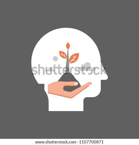 Self growth, potential development, motivation and aspiration, mental health care, positive mindset, psychotherapy and analysis, pursuit of happiness, hand holding steam, vector illustration