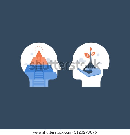 Self growth, potential development, motivation and aspiration, mental health, positive mindset, mindfulness and meditation concept, esteem and confidence, pursuit of happiness, inner peace vector icon