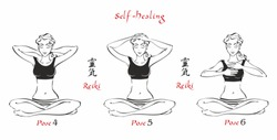 Self-Healing.   The energy of reiki. Poses hands for healing. The set of files. File 2. 3 positions. A total of 12 positions. Alternative medicine. Spiritual healing. Esoteric. Vector.