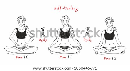 Self-Healing.   The energy of reiki. Poses hands for healing. The set of files. File 4. 3 positions. A total of 12 positions. Alternative medicine. Spiritual healing. Esoteric. Vector.