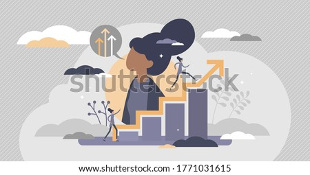 Self improvement with personal development and growth flat tiny persons concept. Educational and professional progress vector illustration. Career progress and skill training performance challenge.