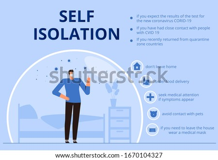 Self-isolation infographics due to new 2019-nCov coronavirus. Tips for self-insulating people. COVID-2019 virus poster