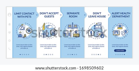 Self-isolation rules onboarding vector template. Contacts with pets limiting, leaving house prohibition. Responsive mobile website with icons. Webpage walkthrough step screens. RGB color concept