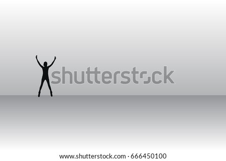 Self-knowledge and loneliness concept. The man is outstretched. Unity with God and the universe. Vector illustration for your design.