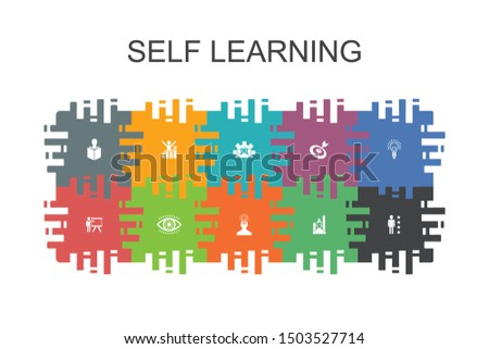 Self learning cartoon template with flat elements. Contains such icons as personal growth, inspiration, creativity