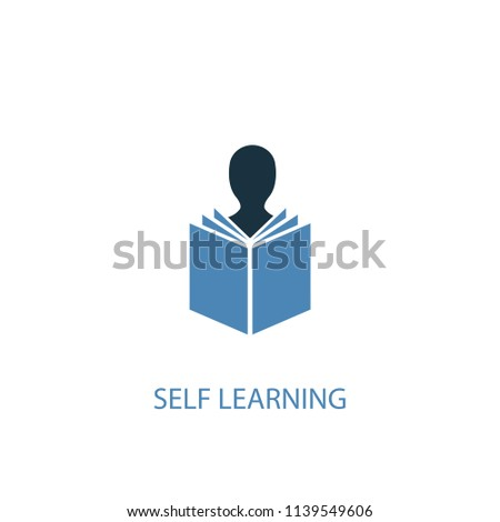Self-learning concept 2 colored icon. Simple blue element illustration. Self-learning concept symbol design from eLearning set. Can be used for web and mobile UI/UX