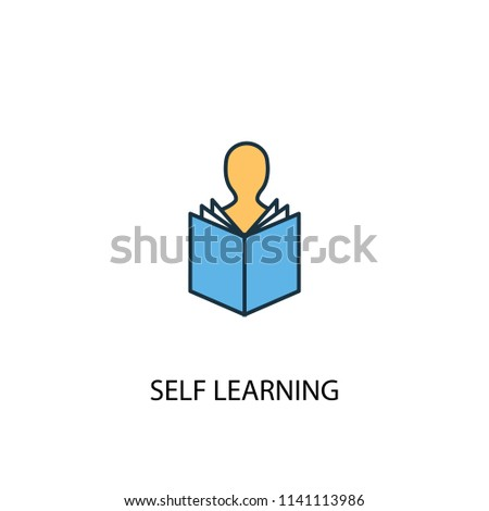 Self-learning concept 2 colored line icon. Simple yellow and blue element illustration. Self-learning concept outline symbol design from eLearning set