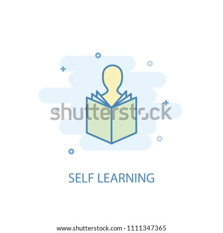 Self-learning concept trendy icon. Simple line, colored illustration. Self-learning concept symbol flat design from eLearning  set. Can be used for UI/UX