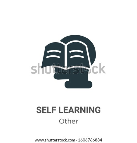 Self learning glyph icon vector on white background. Flat vector self learning icon symbol sign from modern other collection for mobile concept and web apps design.