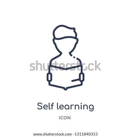 self learning icon from other outline collection. Thin line self learning icon isolated on white background.
