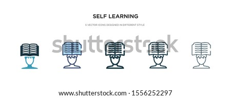 self learning icon in different style vector illustration. two colored and black self learning vector icons designed in filled, outline, line and stroke style can be used for web, mobile, ui