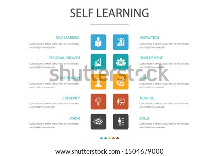 Self learning Infographic 10 option concept.personal growth, inspiration, creativity, development icons