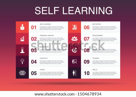 Self learning Infographic 10 option template. personal growth, inspiration, creativity, development icons