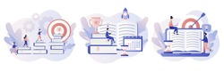 Self-learning, online education, e-book, distance e-learning. Self development concept. Skill improvement. Goal achieving. Modern flat cartoon style. Vector illustration on white background