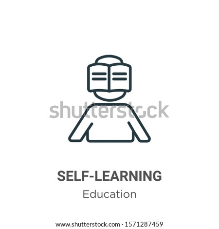 Self-learning outline vector icon. Thin line black self-learning icon, flat vector simple element illustration from editable education concept isolated on white background