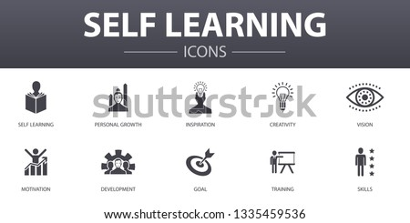 Self learning simple concept icons set. Contains such icons as personal growth, inspiration, creativity, development and more, can be used for web, logo, UI/UX