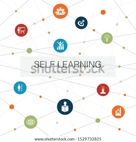 Self learning trendy web template with simple icons. Contains such elements as personal growth, inspiration, creativity