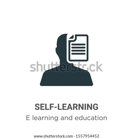 Self-learning vector icon on white background. Flat vector self-learning icon symbol sign from modern e learning and education collection for mobile concept and web apps design.