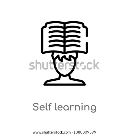 self learning vector line icon. Simple element illustration. self learning outline icon from other concept. Can be used for web and mobile